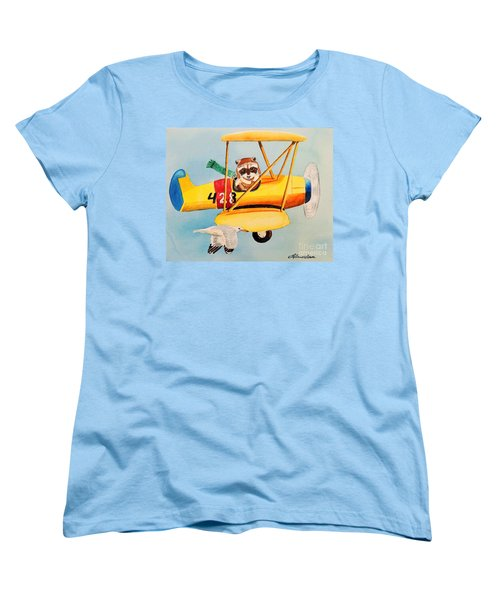 Women's T-Shirt (Standard Cut) featuring the painting Flying Friends by LeAnne Sowa