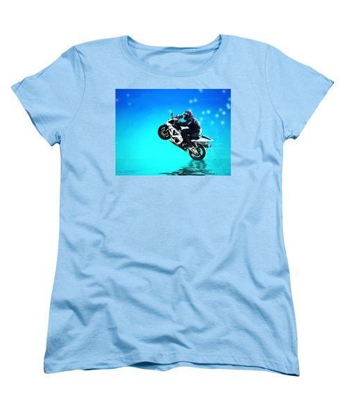 Women's T-Shirt (Standard Cut) featuring the photograph Flying Low One More Time On Two Wheels by Joyce Dickens