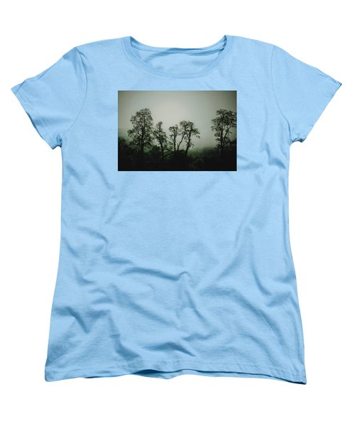 Women's T-Shirt (Standard Cut) featuring the photograph Foggy Mountain Morning At The Meadows Of Dan by John Haldane