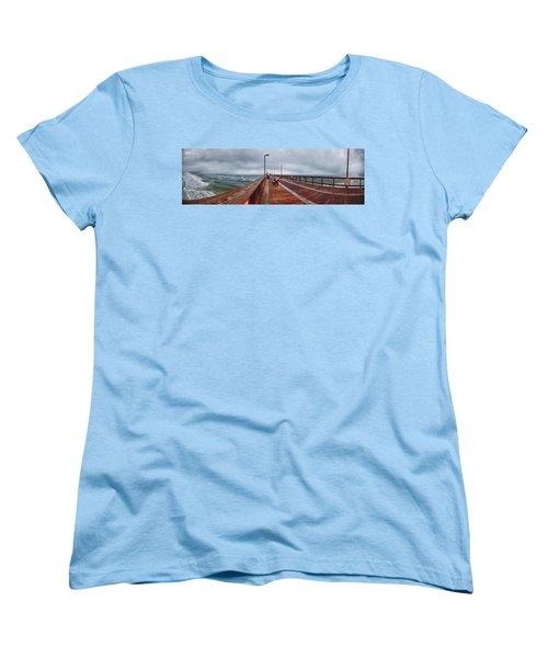 Women's T-Shirt (Standard Cut) featuring the digital art Foggy Pier  by Michael Thomas