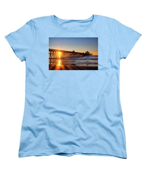 Folly Beach Pier At Sunrise Women's T-Shirt (Standard Cut) by Lynne Jenkins