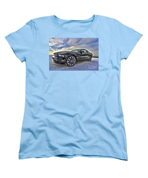 Women's T-Shirt (Standard Cut) featuring the photograph ford mustang car HDR by Paul Fearn