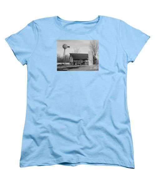 Forgotten Farm In Black And White Women's T-Shirt (Standard Cut) by Judy Whitton