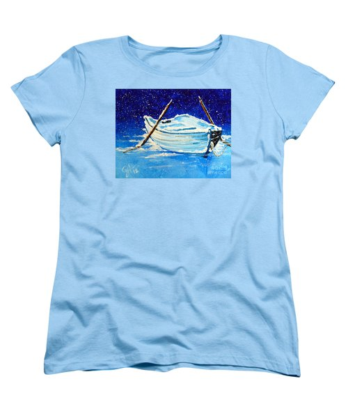 Women's T-Shirt (Standard Cut) featuring the painting Forgotten Rowboat by Jackie Carpenter