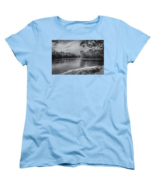 Women's T-Shirt (Standard Cut) featuring the photograph Fork In River Bw by Mark Myhaver