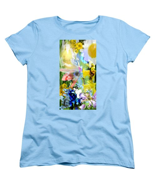 Women's T-Shirt (Standard Cut) featuring the digital art Framed In Flowers by Cathy Anderson