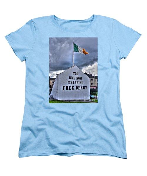 Free Derry Wall Women's T-Shirt (Standard Cut) by Nina Ficur Feenan