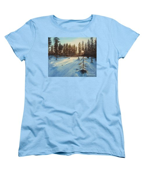 Women's T-Shirt (Standard Cut) featuring the painting Freezing Forest by Martin Howard