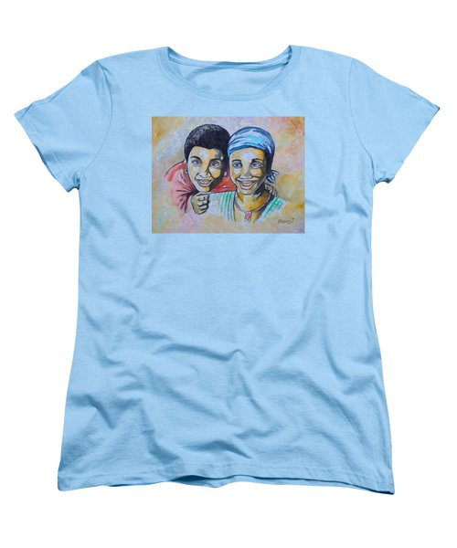 Women's T-Shirt (Standard Cut) featuring the drawing Friends by Anthony Mwangi