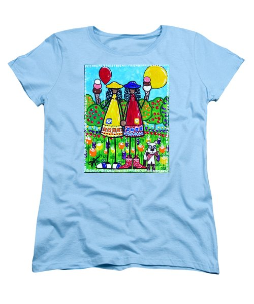 Women's T-Shirt (Standard Cut) featuring the painting Friends by Jackie Carpenter
