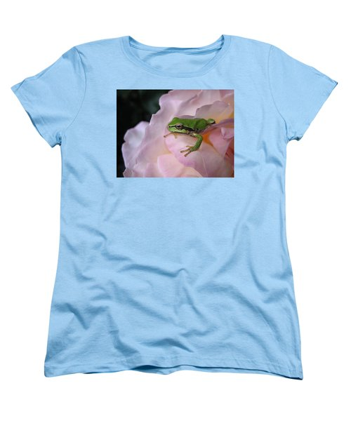 Frog And Rose Photo 3 Women's T-Shirt (Standard Cut) by Cheryl Hoyle