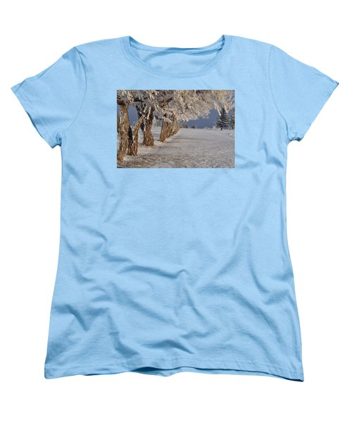 Women's T-Shirt (Standard Cut) featuring the photograph Frosted Trees by Fran Riley
