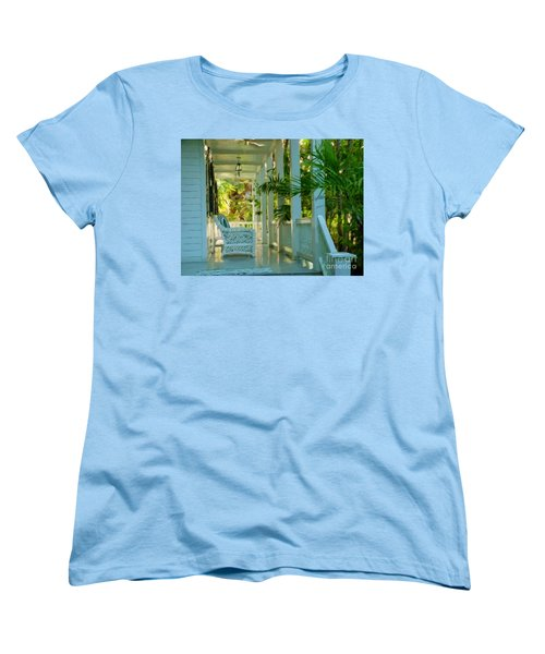 Women's T-Shirt (Standard Cut) featuring the painting Gardens Porch In Key West by David  Van Hulst