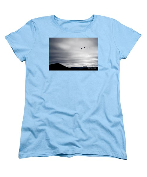 Women's T-Shirt (Standard Cut) featuring the photograph Geese Flying South For Winter by Peta Thames
