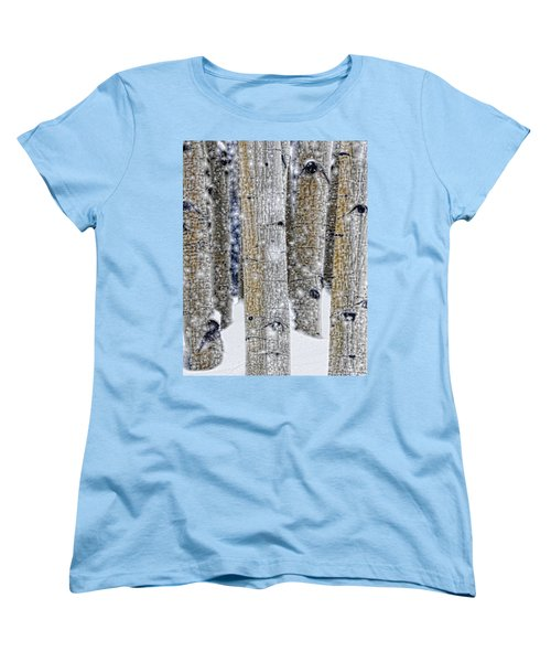 Gently Falling Forest Snow Women's T-Shirt (Standard Cut) by Don Schwartz