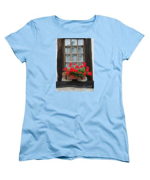 Geraniums In Timber Window Women's T-Shirt (Standard Cut) by Barbie Corbett-Newmin