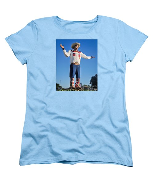 Giant Cowboy Big Tex State Fair Of Texas Women's T-Shirt (Standard Cut) by David Perry Lawrence