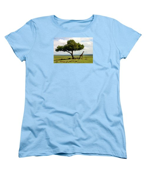 Giraffe And The Lonely Tree  Women's T-Shirt (Standard Cut) by Menachem Ganon