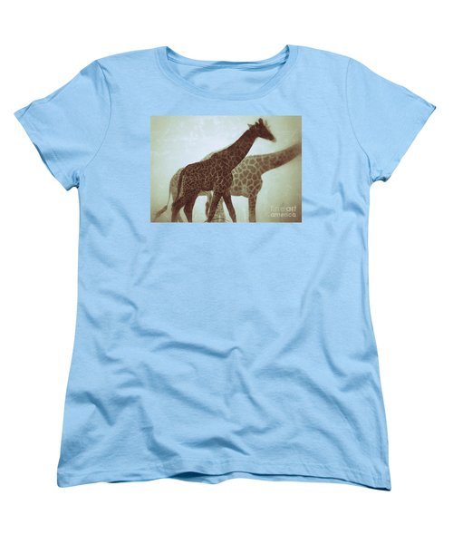 Giraffes In The Mist Women's T-Shirt (Standard Cut) by Nick  Biemans
