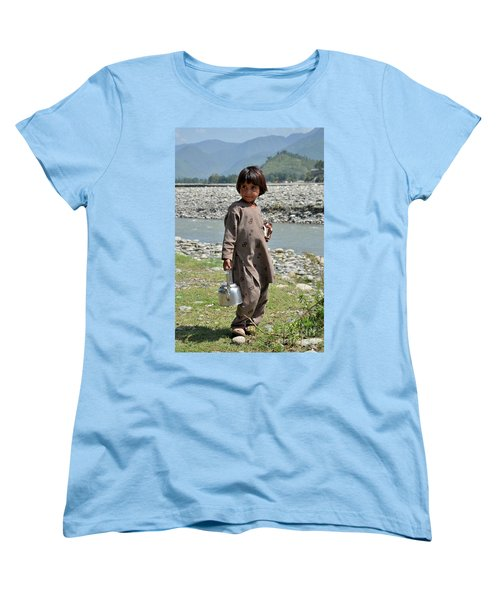 Women's T-Shirt (Standard Cut) featuring the photograph Girl Poses For Camera  by Imran Ahmed