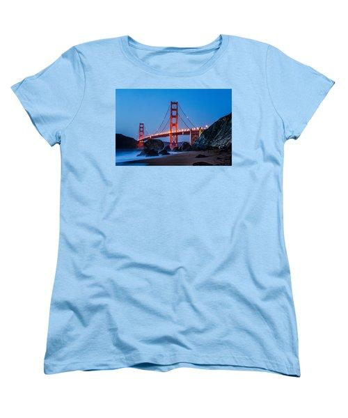 Golden Gate At Twilight Women's T-Shirt (Standard Cut) by Linda Villers