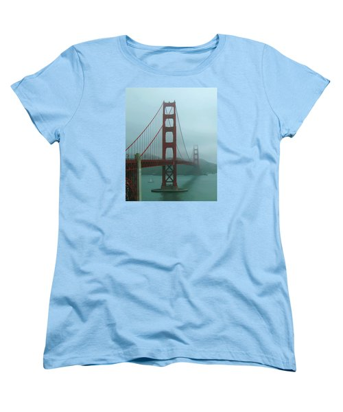 Women's T-Shirt (Standard Cut) featuring the photograph Golden Gate Bridge And Partial Arch In Color  by Connie Fox