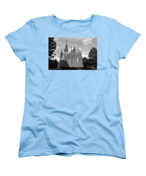Women's T-Shirt (Standard Cut) featuring the photograph Gothic Church In Black And White by John Telfer