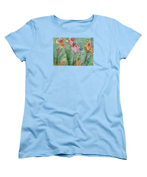 Women's T-Shirt (Standard Cut) featuring the painting Grace's Garden by Mary Wolf