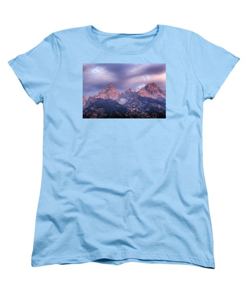Women's T-Shirt (Standard Cut) featuring the photograph Grand Teton In Morning Clouds by Alan Vance Ley
