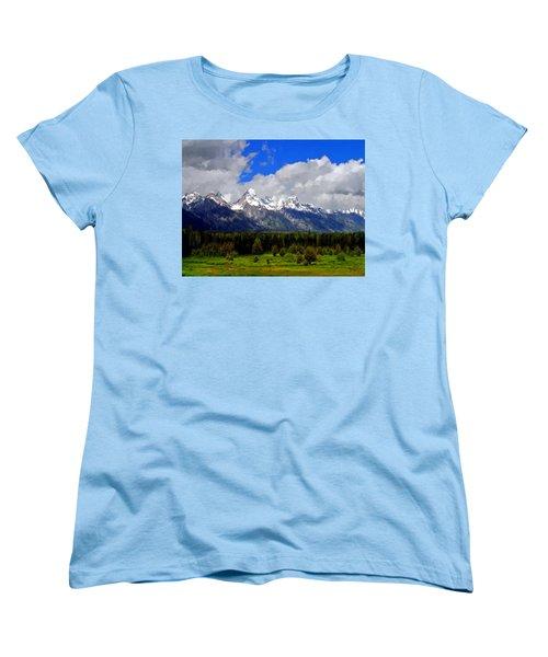Grand Teton Mountains Women's T-Shirt (Standard Cut) by Bruce Nutting