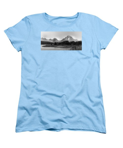 Women's T-Shirt (Standard Cut) featuring the photograph Grand Tetons Bw by Ron White