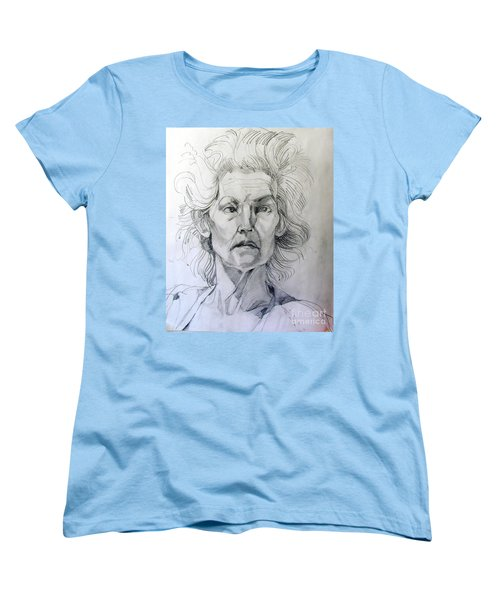 Women's T-Shirt (Standard Cut) featuring the drawing Graphite Portrait Sketch Of A Well Known Cross Eyed Model by Greta Corens