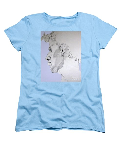 Women's T-Shirt (Standard Cut) featuring the drawing Graphite Portrait Sketch Of A Young Man In Profile by Greta Corens