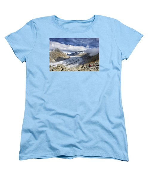 Great Aletsch Glacier Swiss Alps Switzerland Europe Women's T-Shirt (Standard Cut) by Matthias Hauser