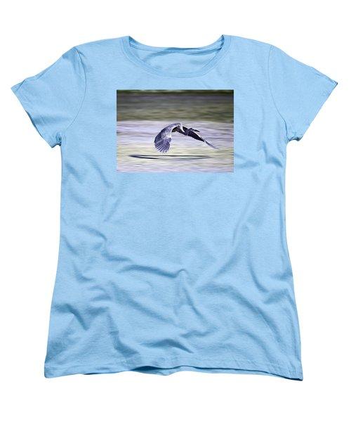 Great Blue Heron In Flight Women's T-Shirt (Standard Cut) by John Haldane