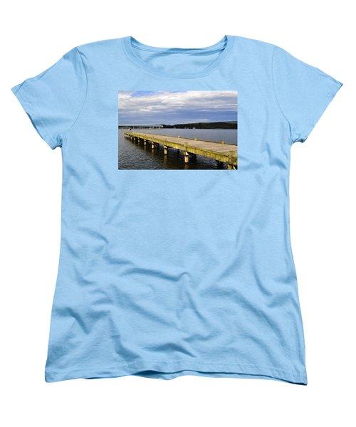 Great Blue Heron Sunning On The Dock Women's T-Shirt (Standard Cut) by Verana Stark