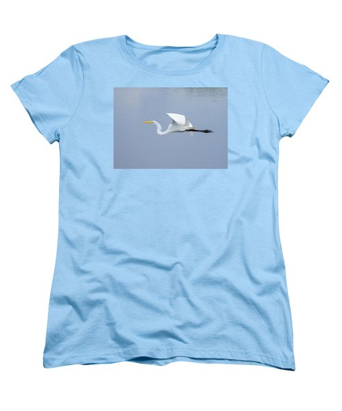 Women's T-Shirt (Standard Cut) featuring the photograph Great Egret In Flight by John M Bailey