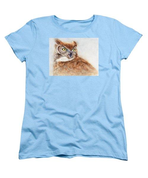 Great Horned Owl Women's T-Shirt (Standard Cut) by Bonnie Rinier