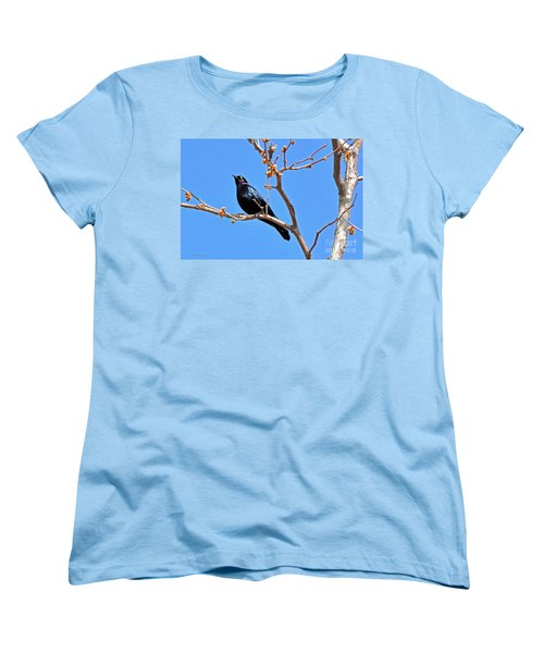 Great-tailed Grackle On A Sunny Spring Day Women's T-Shirt (Standard Cut) by Susan Wiedmann