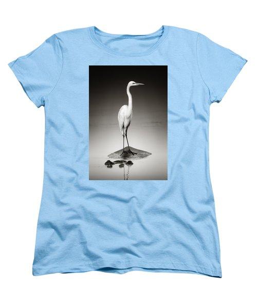 Great White Egret On Hippo Women's T-Shirt (Standard Cut) by Johan Swanepoel