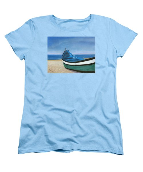 Women's T-Shirt (Standard Cut) featuring the painting Green Boat Blue Skies by Arlene Crafton