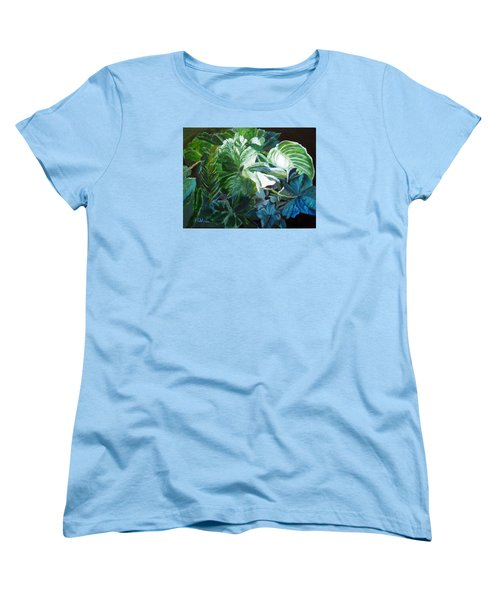 Women's T-Shirt (Standard Cut) featuring the painting Green Leaves Study by LaVonne Hand
