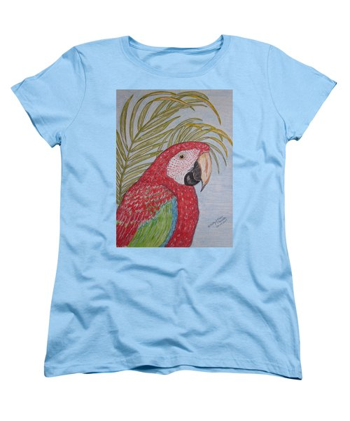 Green Winged Macaw Women's T-Shirt (Standard Cut) by Kathy Marrs Chandler