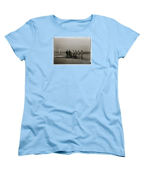 The Wright Brothers Group Portrait In Front Of Glider At Kill Devil Hill Women's T-Shirt (Standard Cut) by R Muirhead Art