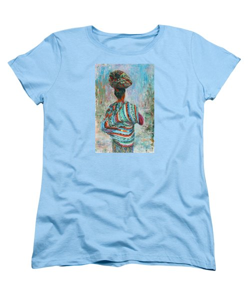 Women's T-Shirt (Standard Cut) featuring the painting Guatemala Impression I by Xueling Zou