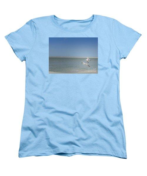 Women's T-Shirt (Standard Cut) featuring the photograph Gulls In Flight by Erika Weber