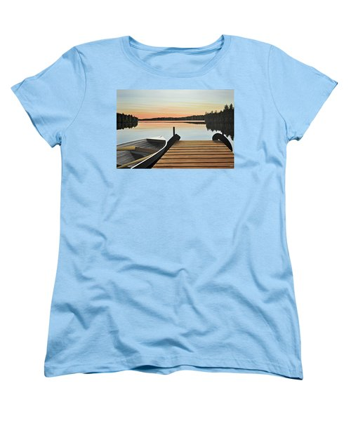 Women's T-Shirt (Standard Cut) featuring the painting Haliburton Dock by Kenneth M  Kirsch