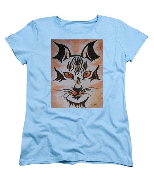 Women's T-Shirt (Standard Cut) featuring the painting Halloween Wild Cat by Teresa White