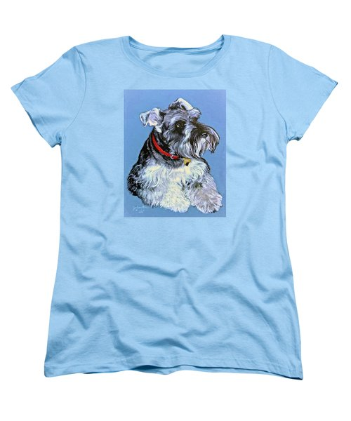 Women's T-Shirt (Standard Cut) featuring the painting Hans The Schnauzer Original Painting Forsale by Bob and Nadine Johnston