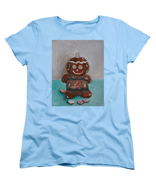 Happy Gingerbread Man Women's T-Shirt (Standard Cut) by Victoria Lakes